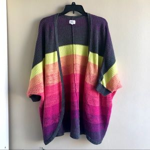 American Eagle Outfitters Sweaters - [AEO] Neon Striped Colorblock Open Sweater